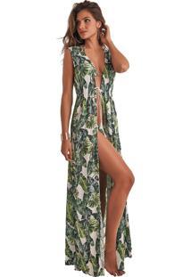 Robe Empress Brasil Sophie Estampa Folhagem Verde