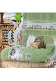 Toalha Banho Infantil Altenburg Mundo Kids 100% Algodão Barra Estampada Safari Verde - 70Cm X 1,30M Verde