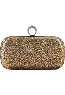 Bolsa Clutch Liage Brilhante Metal Brilho Retangular Alça Alcinha Strass Pedra Glitter Dourada Prata - Kanui