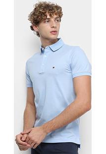 Camisa Polo Tommy Hilfiger Slim Masculina - Masculino-Azul Claro