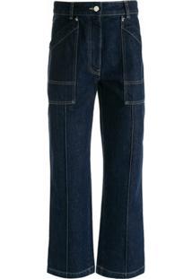 Moncler Calça Jeans Pantacourt - Azul