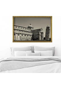 Quadro Love Decor Com Moldura Torre De Pisa Dourado Médio