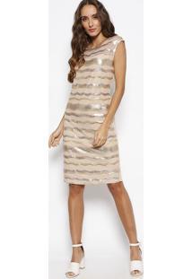 Vestido Com Tule & Paetãªs - Bege & Douradosimple Life