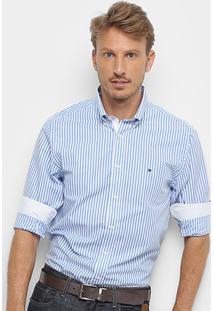 Camisa Manga Longa Tommy Hilfiger Masculina - Masculino-Azul+Branco