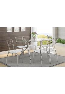 Mesa 387 Com Vidro Incolor Cromada Com 6 Cadeiras 1700 Fantasia Branco Carraro