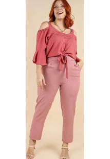 Blusa Manga Peplum Almaria Plus Size Peri Rosa