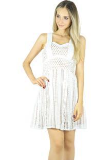Vestido Liage Curto Alça Recorte Branco E Nude / Bege / Off-White