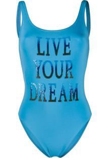 Alberta Ferretti Maiô Live Your Dream - Azul