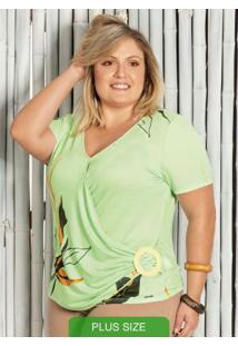 Blusa Decote V Estampada Verde