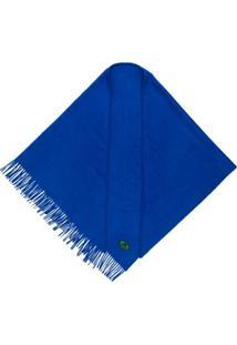 Burberry Echarpe De Cashmere Com Logo Bordado - Azul