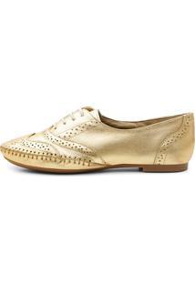 Sapato Oxford Casual Em Couro Q&A 15360 Ouro