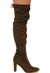 Bota Lisbella Over The Knee Slouch Salto Grosso Feminino - Feminino-Marrom