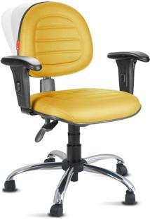 Cadeira Ergonômica Nr17 Costura Premium Amarelo Escuro