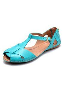 Sandalia Feminina Q&Ampa 780 Couro Azul Turquesa