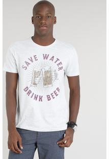 "Camiseta Masculina ""Save Water"" Manga Curta Gola Careca Cinza Mescla Claro"