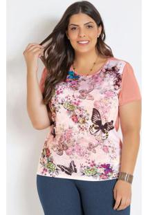 T-Shirt Rosa Plus Size Com Estampa De Borboletas