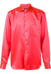 Comme Des Garçons Homme Plus Camisa De Cetim Com Botões - Vermelho