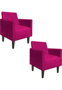 Kit 02 Poltrona Decorativa Compacta Jade Suede Pink Com Pés Baixo Chanfrado - D'Rossi