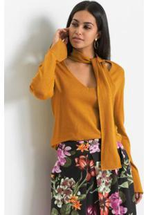 Blusa De Tricô Com Gola Laço Amarelo Mostarda