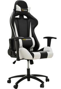 Cadeira Gamer Giratória Reclinável Com Regulagem De Altura Ergonômica Pro-V Sport Pu Preto/Branco - Gran Belo
