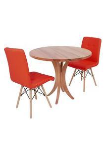 Conjunto Mesa De Jantar Tampo De Madeira 90Cm Com 2 Cadeiras Gomos - Vermelho