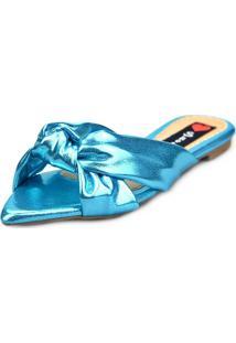 Sandalia Love Shoes Rasteira Bico Folha Nó Metalizadas Azul