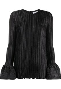 Jw Anderson Bell Sleeve Ribbed Blouse - Preto