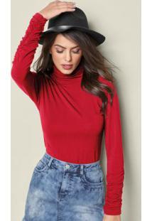 Blusa Básica Gola Alta Vermelha
