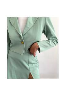 Blazer Feminino Mindset Cropped Verde Claro