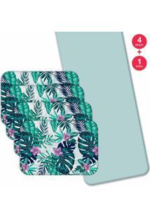 Jogo Americano Love Decor Com Caminho De Mesa Wevans Split Leaf Kit Com 4 Pçs + 1 Trilho