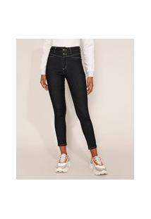 Calça Jeans Feminina Cintura Alta Sawary Cigarrete 360 Azul Escuro
