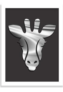 Quadro Decorativo Em Relevo Espelhado Zebra Prateada Branco - Grande