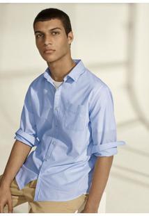 Camisa Masculina Básica Em Tecido De Algodão Encorpado Com Abotoamento