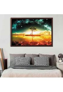 Quadro Love Decor Com Moldura Universe Tree Madeira Escura Grande