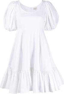 Alexander Mcqueen Vestido Mangas Bufantes - Branco