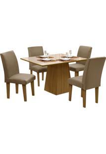 Mesa Para Sala De Jantar Com 4 Cadeiras Florença – Dôbue - Mel / Bege / Mascavo