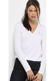 Camiseta Lacoste Manga Longa Decote V Feminina - Feminino-Branco