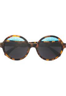... Italia Independent Óculos De Sol Armação Redonda - Marrom 1906bb32ad