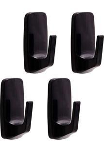 Cabide Adesivo Removível Pequeno Com 4 Unidades Preto Astra
