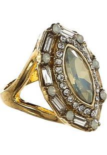 Anel Com Pedra E Strass - Feminino-Dourado