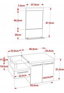 Conjunto Para Banheiro Gabinete Com Cuba Folha Lux L38 E Espelheira Legno 831W Compace Branco/Preto Onix