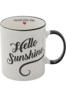 Caneca Hello Sunshine Branca E Preta 9,6X8X8 Cm
