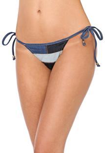 Calcinha Jeans Blue Man String Recortes Azul