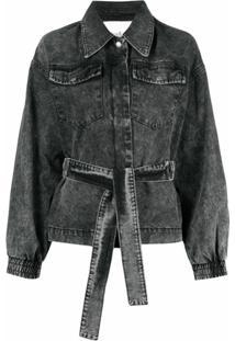 Ba&Sh Jaqueta Jeans Jacky Com Cinto - Preto