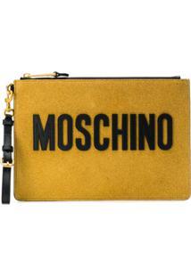 Moschino Logo Zipped Clutch - Dourado