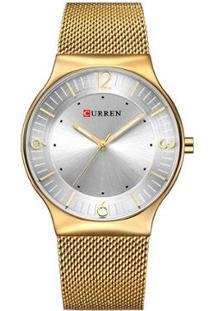 Relógio Curren Analógico 8304 Feminino - Feminino-Dourado