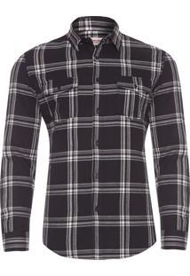 Camisa Masculina Flanela Xadrez Midnight - Preto