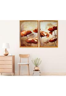 Quadro Com Moldura Chanfrada Flores Envelhecida Dourado - Mã©Dio - Multicolorido - Dafiti
