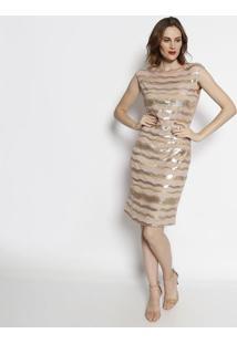 Vestido Com Tule & Paetãªs - Ros㪠& Douradosimple Life