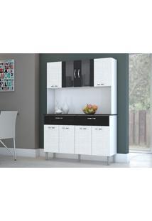 Cozinha Pan 8 Portas E 2 Gavetas Linho Branco/Preto - Lc Móveis